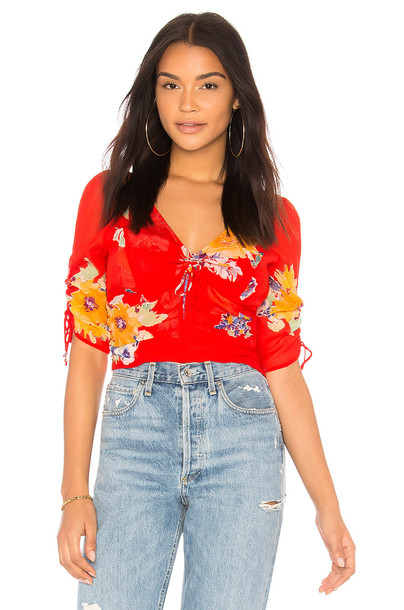 Free People blouse love red top