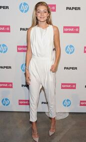 jumpsuit,gigi hadid,white,shoes