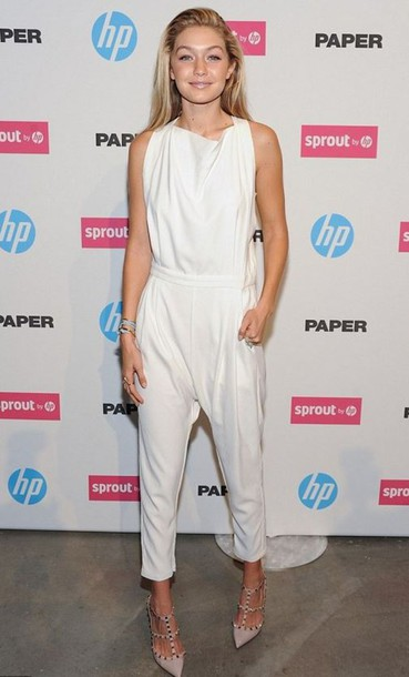jumpsuit gigi hadid white shoes