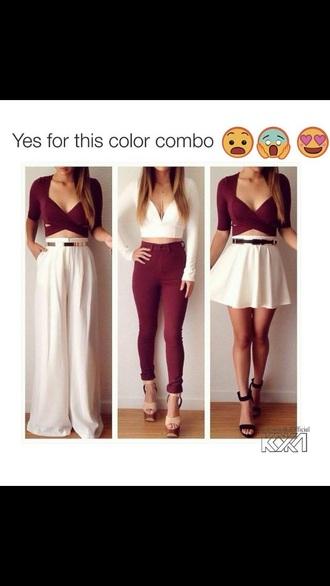 top wine pants skater skirt white crop tops