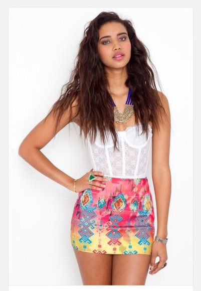 skirt colorful tribal pattern bustier lace top