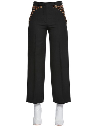 pants cool lace wool black