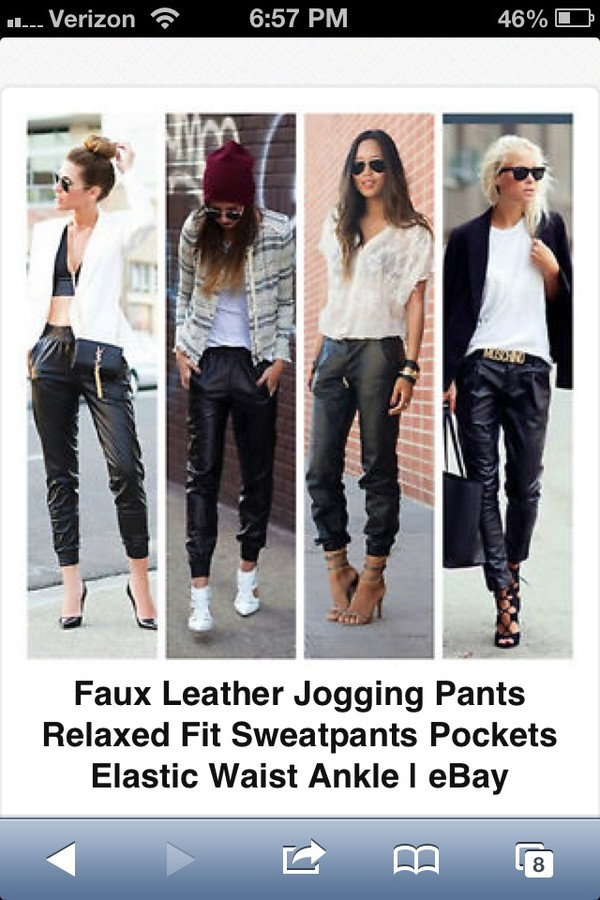 pants black faux leather