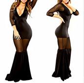 mesh,sheer,maxi,v neck,plunge v neck,black dress,see through dress,mesh sleeves,bodycon dress,bandage dress,low cut dress,little black dress