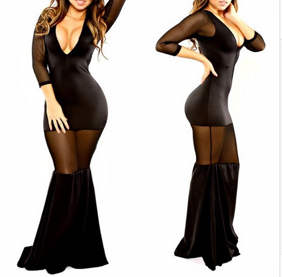 bandage dress bodycon dress dres mesh sheer maxi v neck deep v neck see through dress mesh sleeves low cut dress little black dress