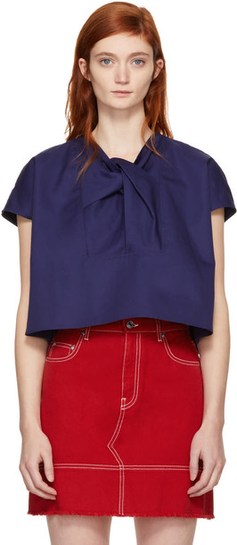 Carven blouse navy top