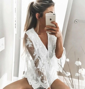 romper sexy sexy lace lace lace romper white white lace sheer floral deep v plunge v neck