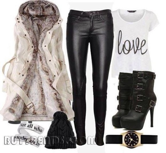 black leather jacket fur boots high heels booties pants purse outfit hat winter shoes jewels