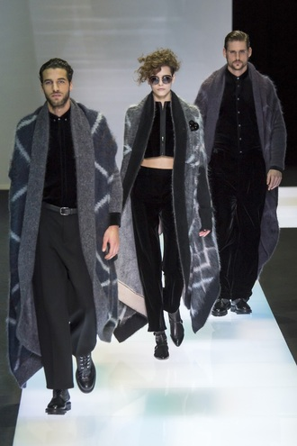 pajamas menswear armani crop tops top cardigan coat runway milan fashion week 2016 fashion week 2016 sunglasses pants