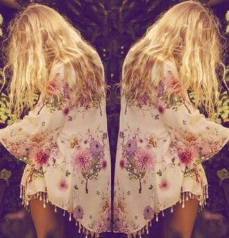jacket kimono floral florar kimono girl summer blonde hair summer outfits festival blouse kimono jacket boho