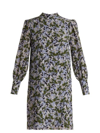 dress silk print blue