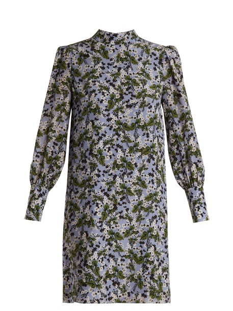 Erdem dress silk print blue