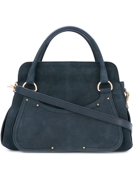 women bag tote bag leather blue