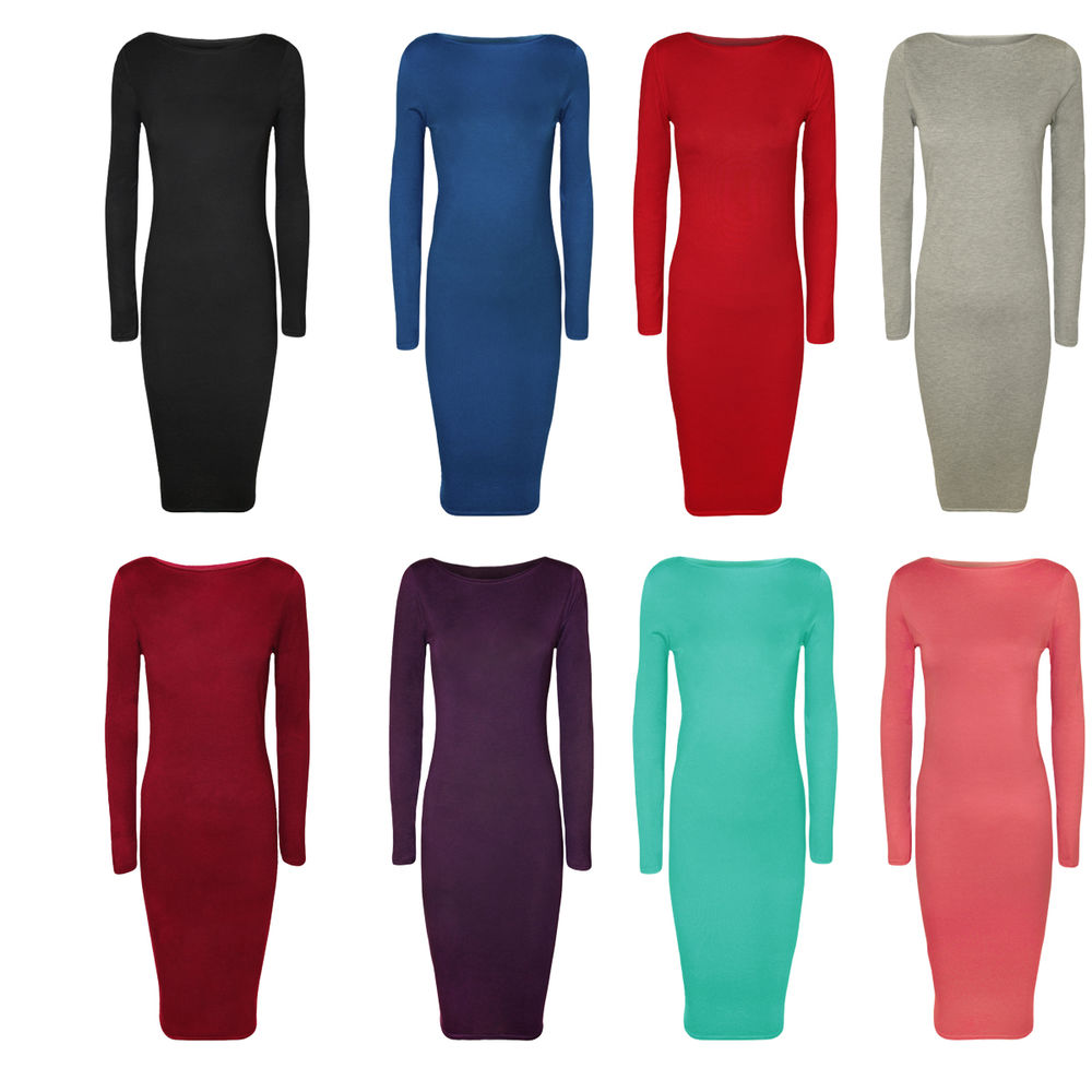 New Ladies Long Sleeve Stretch Plain Bodycon MIDI Maxi Womens Dress 8 14 | eBay