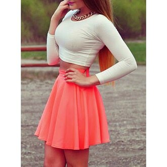 dress two piece dress set coral crop skirt girly summer fashion long sleeves trendsgal.com
