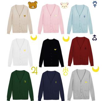 cardigan red blue green beige black white grey pink cute fashion fall outfits style winter outfits knitwear sailor moon rilakkuma
