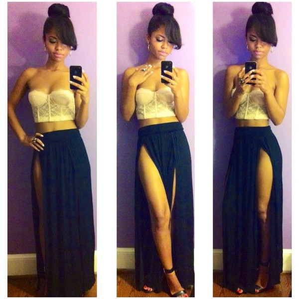 High Waisted Maxi Skirt With Slits - Dress Ala