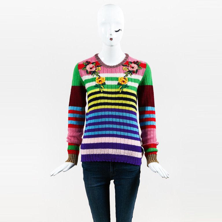 Gucci NWOT Multicolor Wool & Cashmere Striped Flower Applique Sweater SZ M