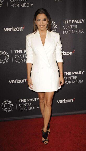 dress eva longoria blazer blazer dress mini dress white sandals