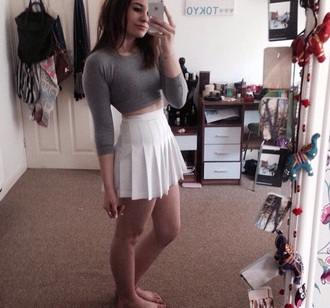 skirt white skirt box pleats