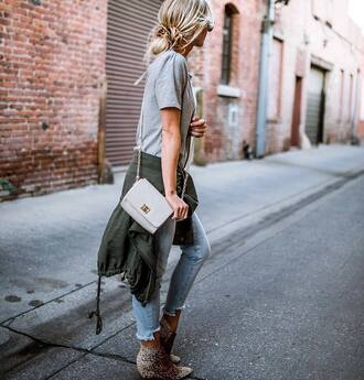 t-shirt boo tumblr grey t-shirt bag grey bag denim jeans blue jeans jacket army green jacket ankle boots leopard print shoes