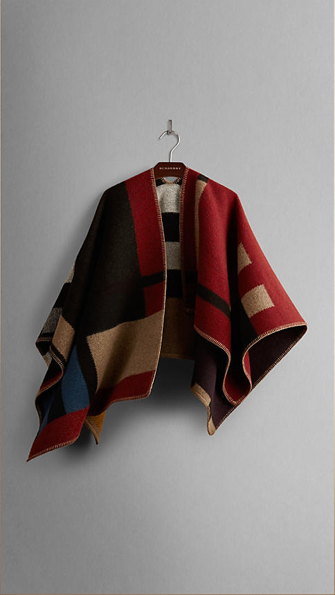 Colour Block Check Blanket Poncho | Burberry