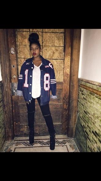 jacket blue jeans jacket red lipstick cute jeans varsity jacket