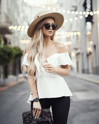 top hat tumblr white top off the shoulder off the shoulder top sun hat straw hat watch necklace gold necklace jewels jewelry sunglasses