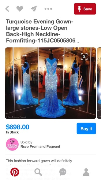 dress blue dress sparkly dress rhinestones dress gown prom dress