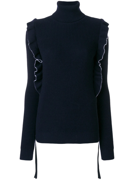 sweater ruffle women blue wool