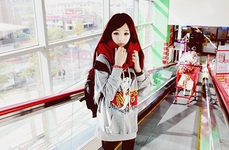 sweater scarf red grey michael jackson backpack leggings