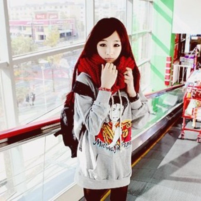 sweater red leggings scarf grey michael jackson backpack scarf red