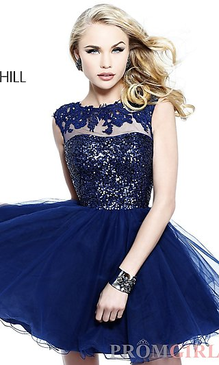 High Neck Party Dress, Sherri Hill Short Formal Dresses- PromGirl