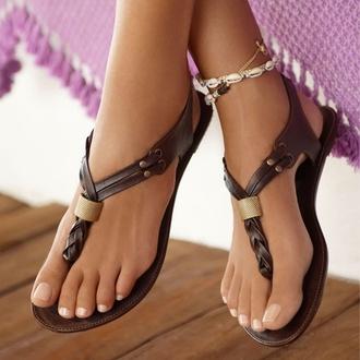 shorts shoes summer sandals bohemian beach brown braid metallic accessory