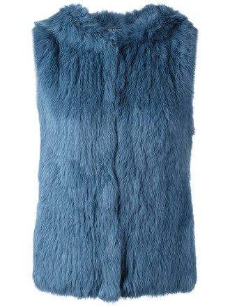 vest fur vest fur blue jacket