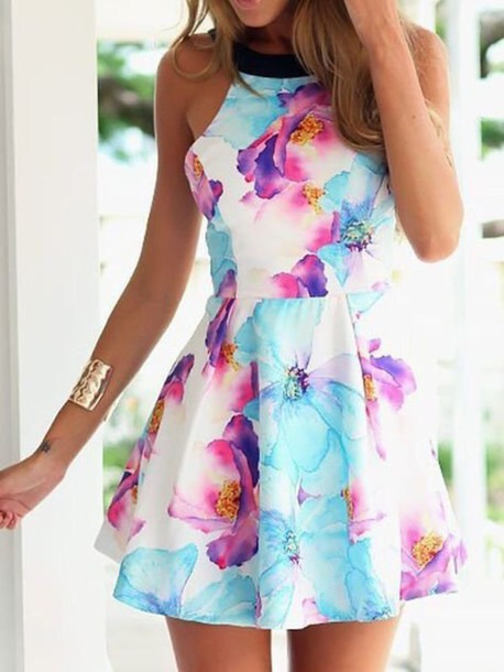 Dress: floral, spring outfits, spring dress, blue, purple ...