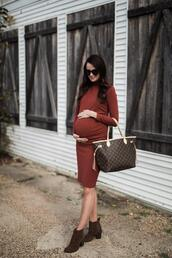 themilleraffect,blogger,bag,ankle boots,maternity dress,louis vuitton bag,fall outfits
