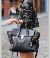 bag,black,jacket,studded jacket,leather jacket,designer,designer purse,purse,designer bag,tote bag,studded jackets,black and gold,black bag,gold details,black bag with gold details,big bag,pashli,black tote,black leather jacket,studded leather jacket,streetstyle,phillip lim,embellished leather jacket