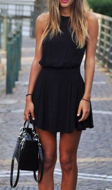 dress black dress. sleeveless black short love this summer casual high neck black dress mini dress