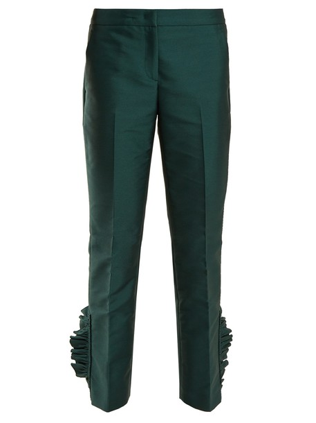 No. 21 cropped ruffle dark green pants
