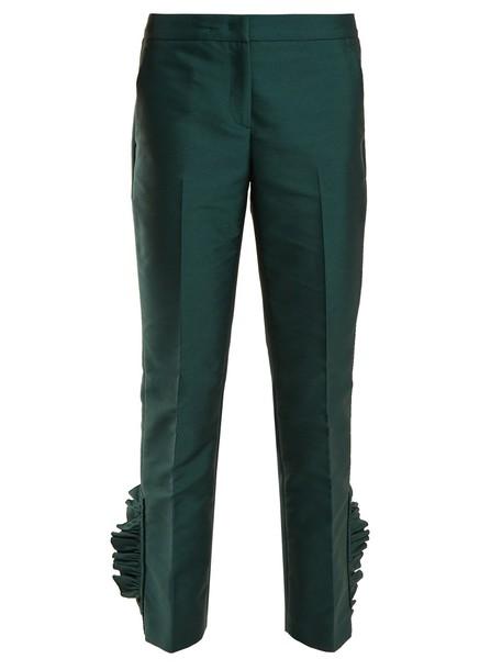 cropped ruffle dark green pants