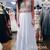 White A-line round neckline Chiffon Lace Prom Dresses, Formal Dress - 24prom