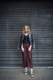 at fashion forte,blogger,jacket,top,pants,jewels,shoes,black leather jacket,metallic shoes,spring outfits