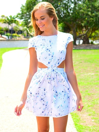 dress sundress cut-out side cutout skater dress summer