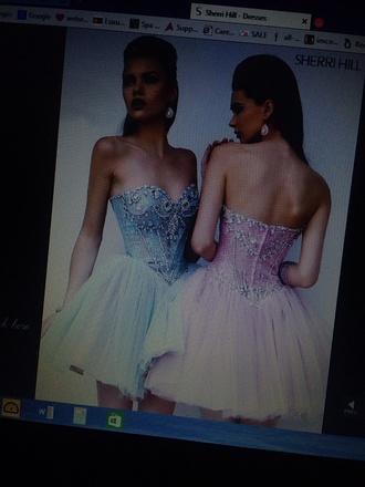 dress sherri hill strapless dress prom dress short prom dress poofy short dress short dress light blue