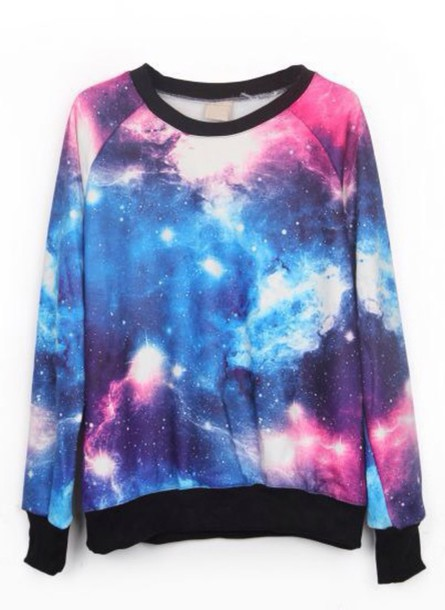 shirt sweatshirt galaxy print