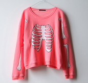 pink sweater,white sweater,cotton,oversized,skull,sweater,bones,skeleton,bones sweater,pink,shirt,cool,white,girly,lovely,pastel pink,pullover,hipster