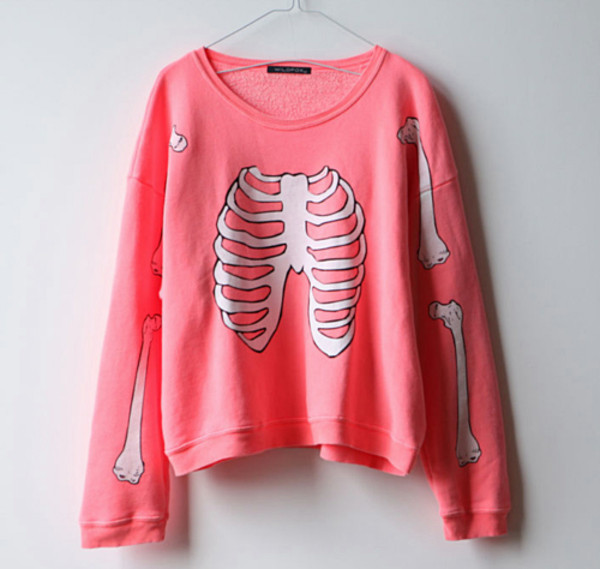 pink sweater white sweater cotton oversized skull sweater bones skeleton bones sweater pink shirt cool white girly lovely bones pastel pink pullover hipster goth pastel goth sweatshirt crewneck kawaii bubblegum colorful clothes top long sleeves coat pastel blouse