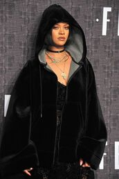coat,rihanna,puma,puma x rihanna,swag,nyfw,nyfw2016,all black everything,jewels,black,necklace,choker necklace,black choker,rihanna style,fashion week 2016,NY Fashion Week 2016,jewelry