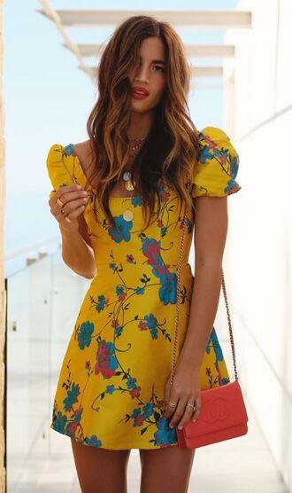 dress yellow yellow dress summer dress summer outfits instagram blogger rocky barnes mini dress